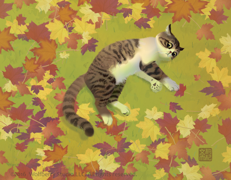 Cat lying among fall leaves
