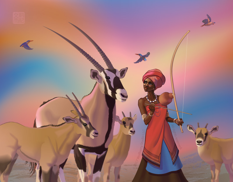 Xhosaa woman playing bow instrument, accompanied by gemsbok and purple rollers