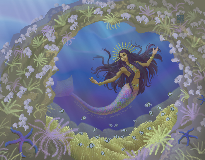 Malay mermaid in coral reef