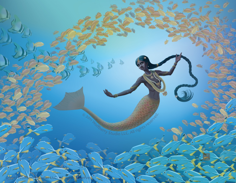 South Indian mermaid among schools of fishes