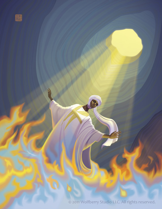jinn rising from flames in cave