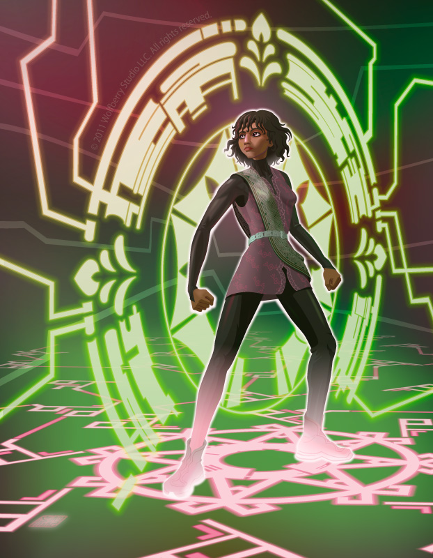 female figure standing in front of cyber portal